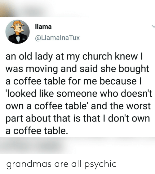 llama: llama  @LlamalnaTux  an old lady at my church knew I  was moving and said she bought  a coffee table for me because l  looked like someone who doesn't  own a coffee table' and the worst  part about that is that I don't own  a coffee table. grandmas are all psychic