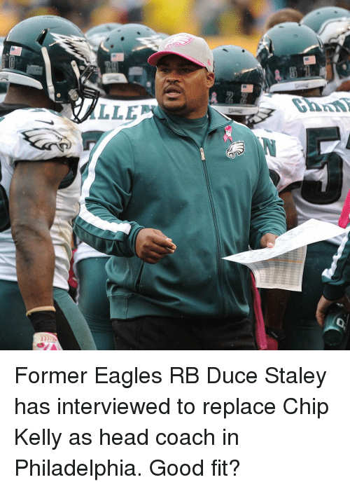 Chip Kelly, Head, and Sports: LLE  Danti Former Eagles RB Duce Staley has interviewed to replace Chip Kelly as head coach in Philadelphia. Good fit?