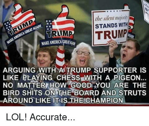 Trump Support: lliesilenl majonn  STANDS WITH  GREAT  TRUMP  TRUMP  ARGUING WITH TRUMP SUPPORTER LIKE PLAYING CHESS WITH A PIGEON...  NO MATTER HOW YOU ARE THE  BIRD SHITS ON THE BOARD AND STRUTS  AROUND LIKE ITIS THE CHAMPION LOL! Accurate...
