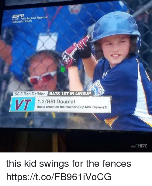 the chives: LLWS Now England Regional  Elimination Game  SS 5 Ben Deibler BATS  1ST IN LINEUP  1-2 (RBI Double)  Has a crush on his teacher (Sup Mrs. Stevens?)  the CHIVE this kid swings for the fences https://t.co/FB961iVoCG