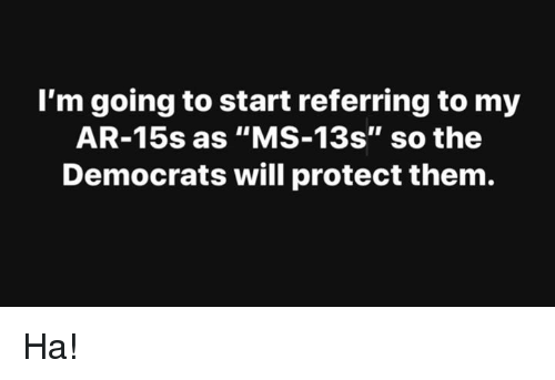 "Memes, 🤖, and Will: l'm going to start referring to my  AR-15s as ""MS-13s"" so the  Democrats will protect them. Ha!"
