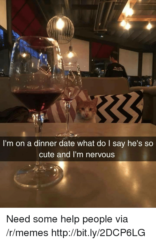 dinner date: l'm on a dinner date what do I say he's so  cute and I'm nervous Need some help people via /r/memes http://bit.ly/2DCP6LG