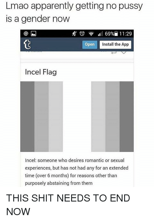 flags: Lmao apparently getting no pussy  is a gender now  69% 11:29  Open  Install the App  Incel Flag  Incel someone who desires romantic or sexual  experiences, but has not had any for an extended  time (over 6 months) for reasons other than  purposely abstaining from them THIS SHIT NEEDS TO END NOW