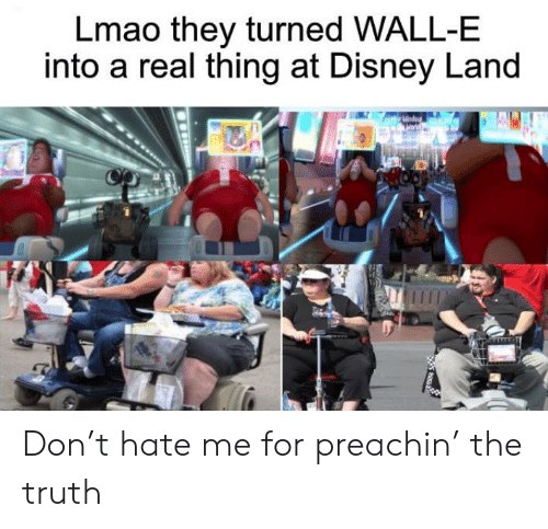 Wall-E: Lmao they turned WALL-E  into a real thing at Disney Land Don't hate me for preachin' the truth