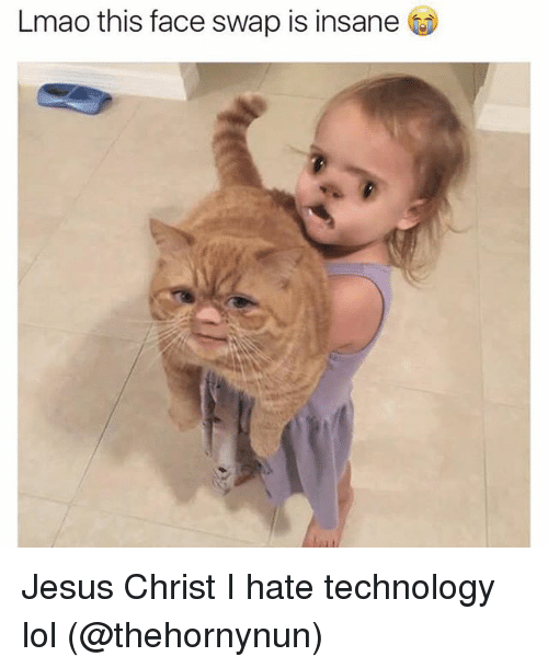 Funny, Jesus, and Lmao: Lmao this face swap is insane Jesus Christ I hate technology lol (@thehornynun)