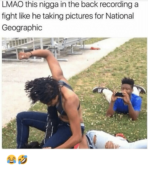 Funny, Lmao, and National Geographic: LMAO this nigga in the back recording a  fight like he taking pictures for National  Geographic 😂🤣
