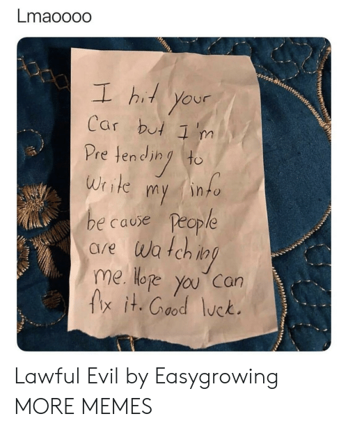 Lawful Evil: Lmaooodo  L hi your  Car but 'm  Pretend (to  Write my into  e cause People  are wa tch i  me Hoe you can  fx it.Cood lck.  OP Lawful Evil by Easygrowing MORE MEMES