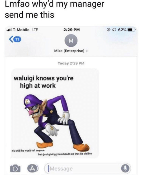 Enterprise: Lmfao why'd my manager  send me this  T-Mobile LTE  2:29 PM  Mike (Enterprise)>  Today 2:29 PM  waluigi knows you're  high at work  its chill he won't tell anyone  he's just giving you a heads up that it's visible  Message