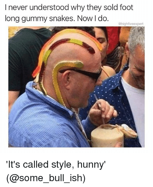 Memes, Snakes, and 🤖: lnever understood why they sold foot  long gummy snakes. Now l do  @highfiveexpert 'It's called style, hunny' (@some_bull_ish)