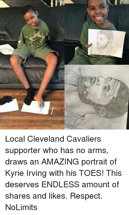 Cavaliers: Local Cleveland Cavaliers supporter who has no arms, draws an AMAZING portrait of Kyrie Irving with his TOES! This deserves ENDLESS amount of shares and likes. Respect. NoLimits