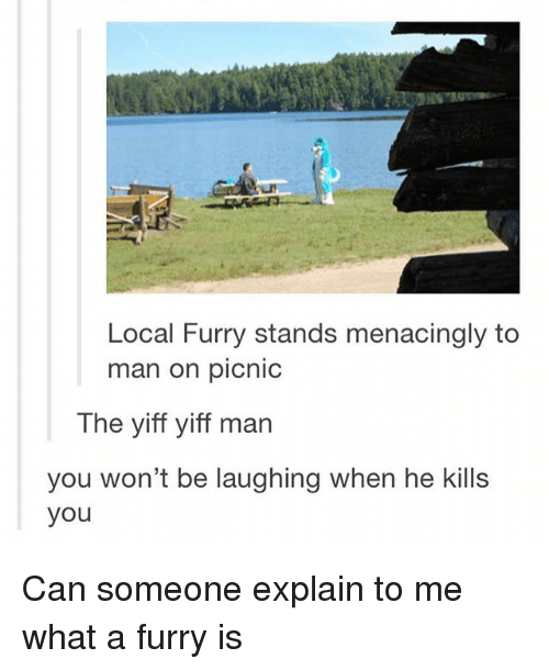 Menacingly: Local Furry stands menacingly to  man on picnic  The yiff yiff man  you won't be laughing when he kills  you Can someone explain to me what a furry is