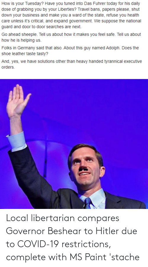 stache: Local libertarian compares Governor Beshear to Hitler due to COVID-19 restrictions, complete with MS Paint 'stache