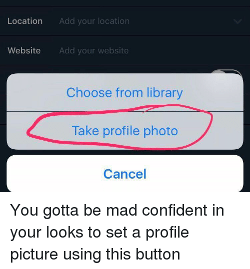 Girl Memes: Location  Add your location  Website Add your website  Choose from library  Take profile photo  Cancel You gotta be mad confident in your looks to set a profile picture using this button