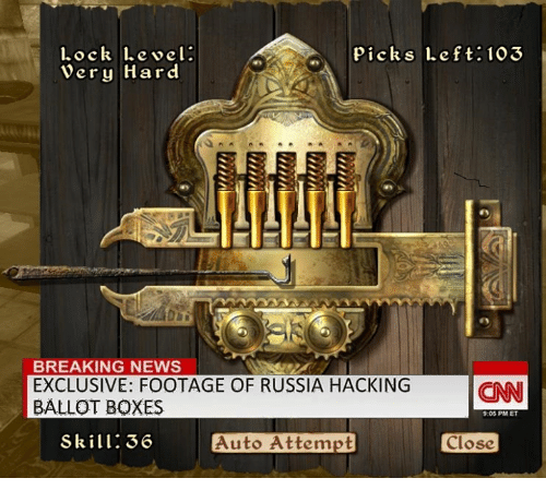 Breaking News, Dank Memes, and Auto: Lock Lebel.  pick s Left: 103  Very Hard  BREAKING NEWS  EXCLUSIVE: FOOTAGE OF RUSSIA HACKING  CNN  BALLOT BOXES  9:05 PM ET  Skill: 36  Auto Attempt  close