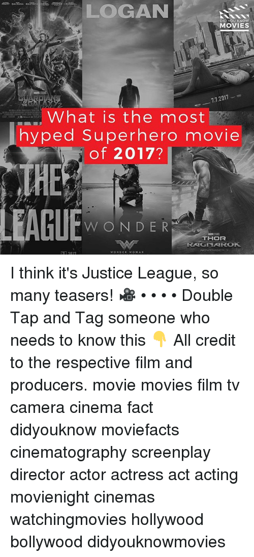 Superhero Movie: LOGAN  DID YOU KNOW  MOVIES  7.7.2017  OF  TRE  What is the most  hyped Superhero movie  of 2017?  ■■■,  THE  WONDER  THOR  RAGNAROK  1 2017 I think it's Justice League, so many teasers! 🎥 • • • • Double Tap and Tag someone who needs to know this 👇 All credit to the respective film and producers. movie movies film tv camera cinema fact didyouknow moviefacts cinematography screenplay director actor actress act acting movienight cinemas watchingmovies hollywood bollywood didyouknowmovies