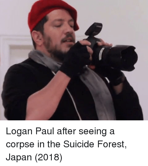 logan paul: Logan Paul after seeing a corpse in the Suicide Forest, Japan (2018)