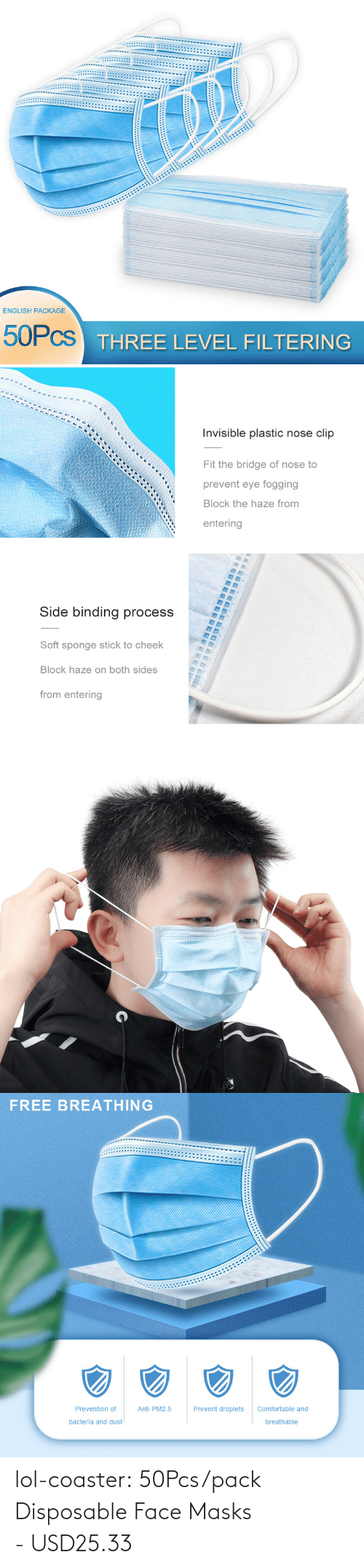 Non: lol-coaster:  50Pcs/pack Disposable Face Masks - USD25.33