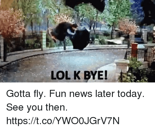 Lol, Memes, and News: LOL K BYE! Gotta fly.  Fun news later today.  See you then. https://t.co/YWO0JGrV7N