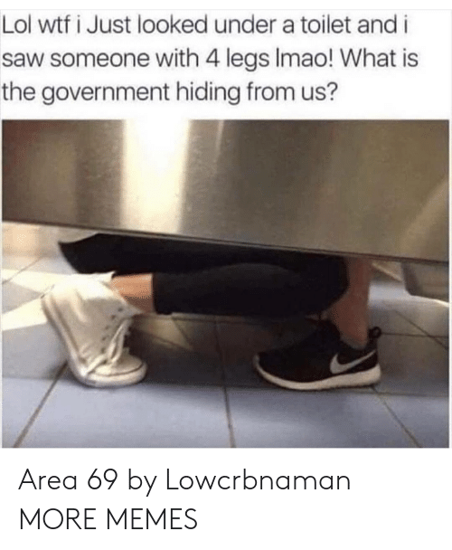 Lol Wtf: Lol wtf i Just looked under a toilet and i  saw someone with 4 legs Imao! What is  the government hiding from us? Area 69 by Lowcrbnaman MORE MEMES