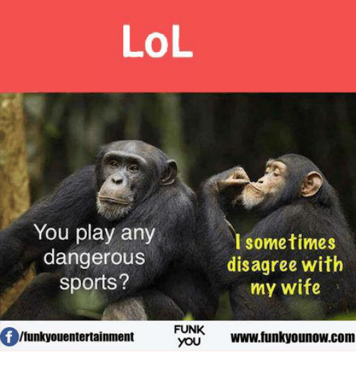 Memes, Wife, and 🤖: LOL  You play any  sometimes  dangerous  disagree with  sports?  my wife  of lfunkyouentertainment  FUNK  www.funkyounow.com