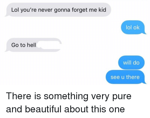 Beautiful, Lol, and Relationships: Lol you're never gonna forget me kid  lol ok  Go to hell  will do  see u there There is something very pure and beautiful about this one