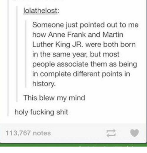 Fucking, Ironic, and Martin: lolathelost:  Someone just pointed out to me  how Anne Frank and Martin  Luther King JR. were both born  in the same year, but most  people associate them as being  in complete different points in  history.  This blew my mind  holy fucking shit  113,767 notes