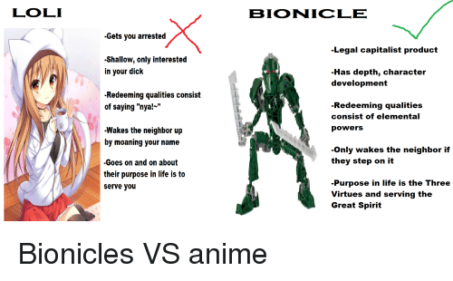 """Anime, Life, and Dick: LOLI  BIONICLE  -Gets you arrested  Legal capitalist product  -Shallow, only interested  in your dick  -Has depth, character  development  -Redeeming qualities consist  of saying """"nya!""""  Redeeming qualities  consist of elemental  powers  -Wakes the neighbor up  by moaning your name  Only wakes the neighbor if  they step on it  -Goes on and on about  their purpose in life is to  serve you  -Purpose in life is the Three  Virtues and serving the  Great Spirit"""