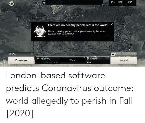 Allegedly: London-based software predicts Coronavirus outcome; world allegedly to perish in Fall [2020]