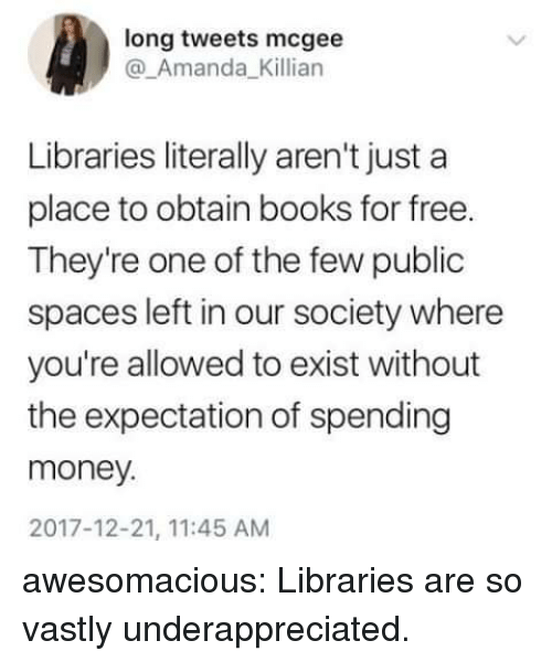 Libraries: long tweets mcgee  @_Amanda_Killian  Libraries literally aren't just a  place to obtain books for free.  They're one of the few public  spaces left in our society where  you're allowed to exist without  the expectation of spending  money.  2017-12-21, 11:45 AM awesomacious:  Libraries are so vastly underappreciated.