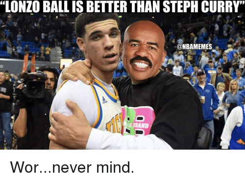 "Memes, 🤖, and Ball: ""LONZO BALL IS BETTER THAN STEPH CURRY'  @NBAMEMES Wor...never mind."