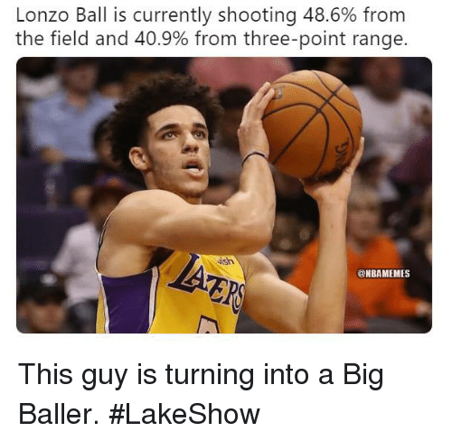 Lonzo Ball: Lonzo Ball is currently shooting 48.6% from  the field and 40.9% from three-point range  ish  @NBAMEMES This guy is turning into a Big Baller. #LakeShow