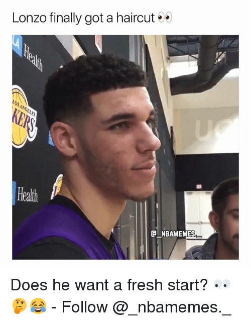 Fresh Start: Lonzo finally got a haircut  0s  Heath  NBAMEMES Does he want a fresh start? 👀🤔😂 - Follow @_nbamemes._