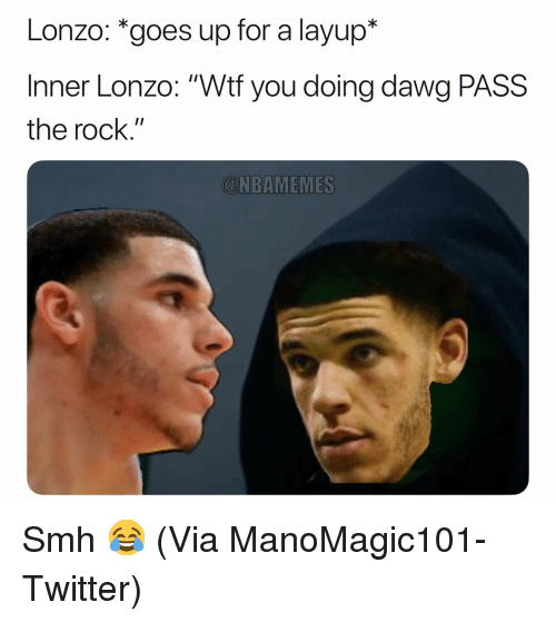 """layup: Lonzo: *goes up for a layup*  Inner Lonzo: """"Wtf you doing dawg PASS  the rock.""""  CNBAMEMES Smh 😂 (Via ManoMagic101-Twitter)"""