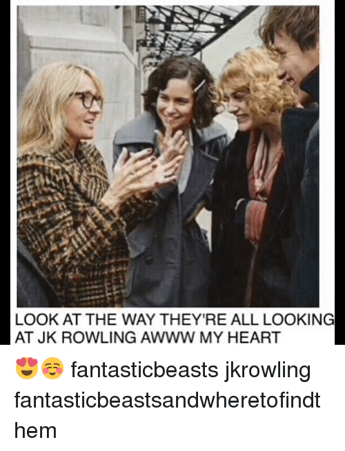 jkrowling: LOOK AT THE WAY THEY'RE ALL LOOKING  AT JK ROWLING AWWW MY HEART 😍☺️ fantasticbeasts jkrowling fantasticbeastsandwheretofindthem