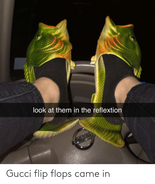 Gucci Flip Flops: look at them in the reflextion Gucci flip flops came in
