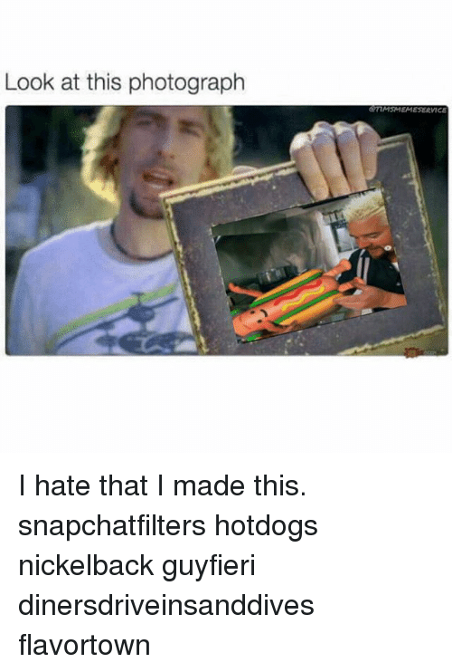 Look At This Photograph: Look at this photograph  mMSMEMESERVICE I hate that I made this. snapchatfilters hotdogs nickelback guyfieri dinersdriveinsanddives flavortown