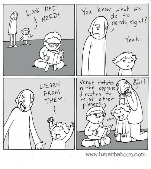 erd: Look DAD!  ERD  know what we  u  nerds ria ht?  Yeah  Venus rotates,  LEARN  FROM  THEM  So  Cool!  in the opposite  direction +  mo st other  anets  www.lunarbaboon.com
