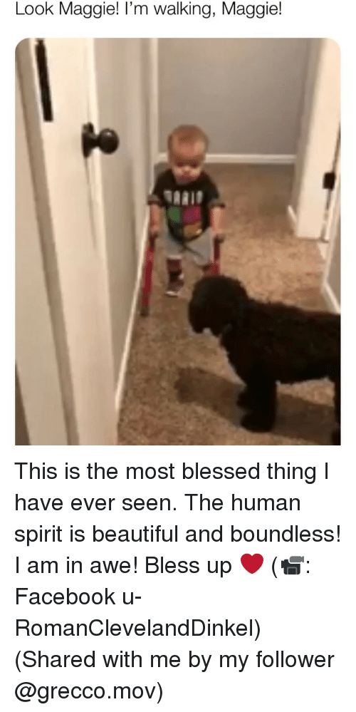 Beautiful, Bless Up, and Blessed: Look Maggie! I'm walking, Maggie!  TARID This is the most blessed thing I have ever seen. The human spirit is beautiful and boundless! I am in awe! Bless up ❤️ (📹: Facebook u-RomanClevelandDinkel) (Shared with me by my follower @grecco.mov)