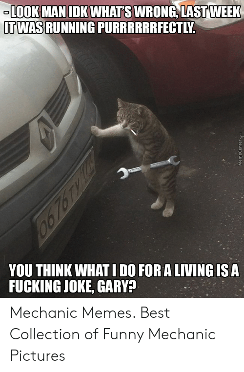 Funny Mechanic: LOOK MAN IDK WHAT'S WRONG, LAST WEEK  TWAS RUNNING PURRRRRRFECTLY  YOU THINK WHATI DO FORALIVING ISA  FUCKING JOKE, GARY? Mechanic Memes. Best Collection of Funny Mechanic Pictures