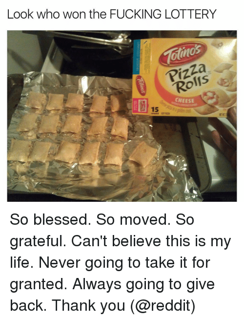 So Blessed So Moved: Look who won the FUCKING LOTTERY  atnos  Ro  CHEESE So blessed. So moved. So grateful. Can't believe this is my life. Never going to take it for granted. Always going to give back. Thank you (@reddit)