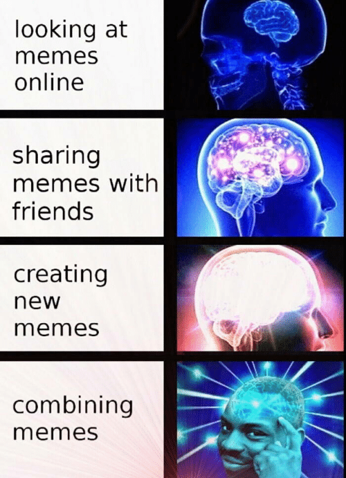 new memes: looking at  memes  online  sharing  memes with  friends  creating  new  memes  combining  memes