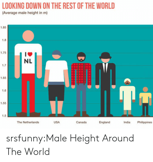 Philippines: LOOKING DOWN ON THE REST OF THE WORLD  (Average male height in m)  1.85  1.8  1.75  1箩  NL  1.7  1.65  1.6  1.55  1.5  The Netherlands  USA  Canada  England  India Philippines srsfunny:Male Height Around The World