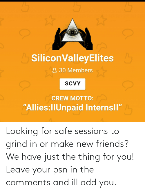 the thing: Looking for safe sessions to grind in or make new friends? We have just the thing for you! Leave your psn in the comments and ill add you.