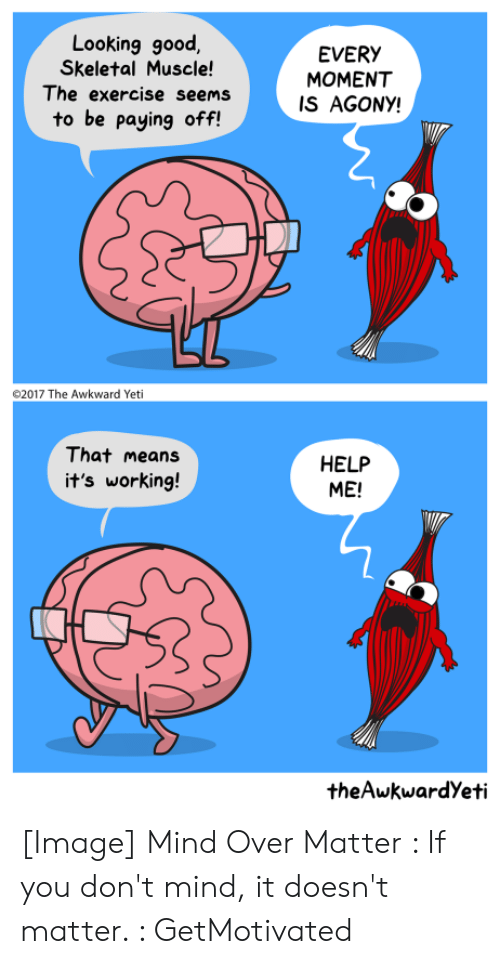 Theawkwardyeti: Looking good  Skeletal Muscle!  The exercise seems  EVERY  MOMENT  IS AGONY!  to be paying off!  2017 The Awkward Yeti  That means  HELP  ME!  it's working!  theAwkwardYeti [Image] Mind Over Matter : If you don't mind, it doesn't matter. : GetMotivated