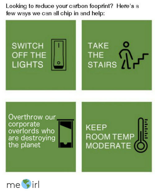 carbon: Looking to reduce your carbon fooprint? Here's a  few ways we can all chip in and help  TAKE  SWITCH  THE  OFF THE  LIGHTS  STAIRS  Overthrow our,  corporate  overlords who  are destroying  the planet  KEEP  ROOM TEMP  MODERATE me🌎irl