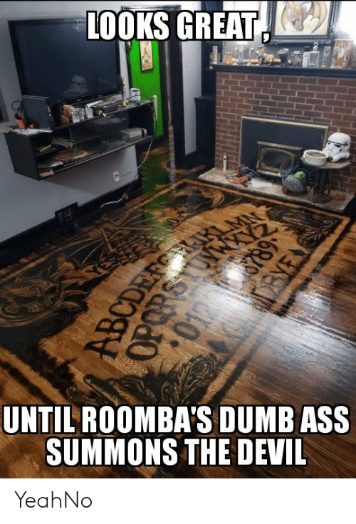 Dumb Ass: LOOKS GREAT(  UNTILROOMBA'S DUMB ASS  SUMMONS THE DEVIL YeahNo