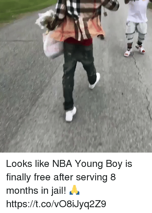 Jail, Memes, and Nba: Looks like NBA Young Boy is finally free after serving 8 months in jail! 🙏 https://t.co/vO8iJyq2Z9