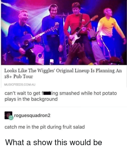 Pub: Looks Like The Wiggles' Original Lineup Is Planning An  18+ Pub Tour  MUSICFEEDS.COM.AU  can't wait to get fing smashed while hot potato  plays in the background  roguesquadron2  catch me in the pit during fruit salad What a show this would be