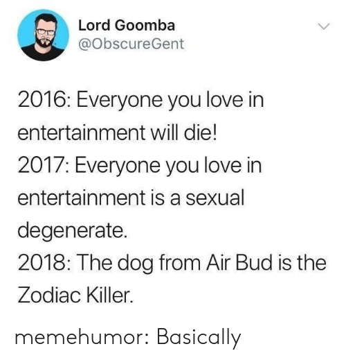 the zodiac killer: Lord Goomba  @ObscureGent  2016: Ever  entertainment will die!  2017: Everyone you love in  entertainment is a sexual  degenerate.  2018: The dog from Air Bud is the  Zodiac Killer.  yone you love in memehumor:  Basically