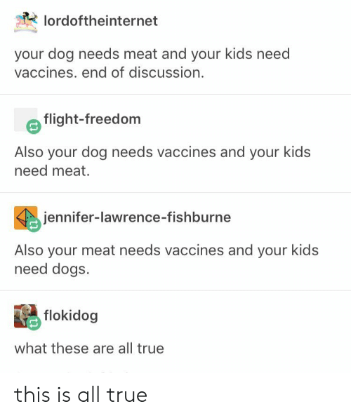 jennifer lawrence: lordoftheinternet  your dog needs meat and your kids need  vaccines. end of discussion.  flight-freedom  Also your dog needs vaccines and your kids  need meat.  jennifer-lawrence-fishburne  Also your meat needs vaccines and your kids  need dogs.  flokidog  what these are all true this is all true